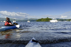 Kayaking on Lake Windermere Royalty Free Stock Photos