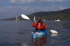 Kayaking on Lake Windermere Stock Image