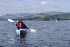 Kayaking on Lake Windermere Royalty Free Stock Photography