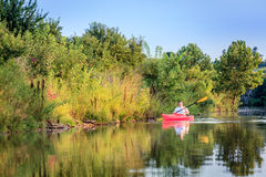 Kayaking on the lake Royalty Free Stock Photo