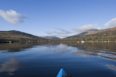 Kayaking on Loch Earn. View from kayak on Loch Earn Perthshire Scotland Stock Photo