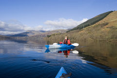 Kayaking on Loch Earn Stock Image