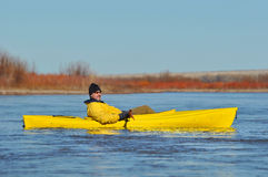 Kayaking man Royalty Free Stock Image