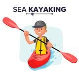 Kayaking Man Vector. Rafting. Vest Jacket, Paddle Oar, Kayak Boat. Kayaking Water Sport. Flat Cartoon Illustration Stock Photo