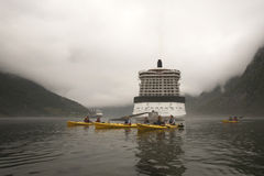 Kayaking Misty Geirangerfjord Norway Stock Images