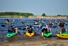 Kayaking in a multisport event in west wicklow Royalty Free Stock Image