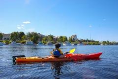 Kayaking n Fredericton op de Heilige John River, New Brunswick, royalty-vrije stock afbeelding