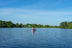 Kayaking na Dźwigowej ` s zatoczce Zdjęcia Stock