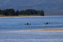 Kayaking na wodzie Obrazy Royalty Free
