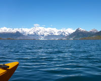 Kayaking near Columbia Glacier Royalty Free Stock Images