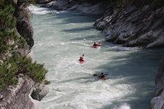 Kayaking op de Sjoa-rivier Stock Fotografie