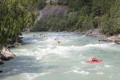 Kayaking op de Sjoa-rivier Stock Foto's