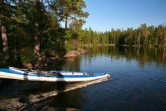 Kayaking op het Karelische meer Royalty-vrije Stock Afbeelding