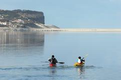 Kayaking op Lagune Ãbidos Stock Afbeeldingen