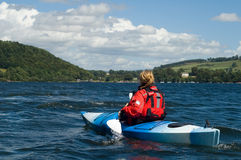 Kayaking op Meer Windermere Stock Foto