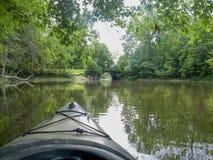 Kayaking på en flod en sommardag Royaltyfri Bild
