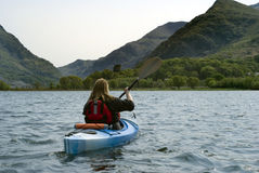 Kayaking on Padarn Lake Royalty Free Stock Photo