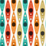 Kayaking and Paddling Seamless Pattern Stock Image