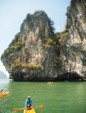 Kayaking in Pang Nga Bay, Thailand Stock Photo