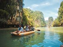 Kayaking in Pang Nga Bay, Thailand Royalty Free Stock Images