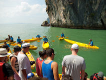 Kayaking in Pang Nga Bay, Thailand Stock Photography