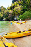 Kayaking in Pang Nga Bay, Thailand Royalty Free Stock Photography