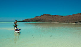 Kayaking paraside beach Sea of Cortez Royalty Free Stock Photo