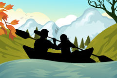 Kayaking people. A  illustration of two people kayaking on the river Royalty Free Stock Images