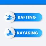 Kayaking, rafting εικονίδια, εμβλήματα Στοκ Εικόνες