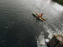 Kayaking and rafting activity on local river dam in Chelyabinsk city in Russia stock images