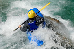 Kayaking on the rapids of river Royalty Free Stock Photography