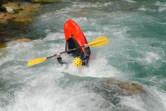 Kayaking on the rapids of river Stock Photo