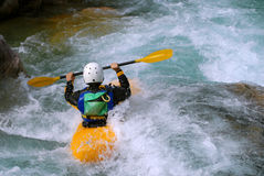 Kayaking on the rapids of river Royalty Free Stock Photo