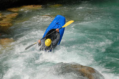 Kayaking on the rapids of river Royalty Free Stock Image