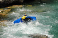 Kayaking on the rapids of river Stock Images