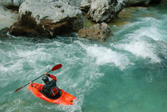 Kayaking on the rapids of river Stock Photography