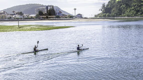 Kayaking in Ribadesella Royalty Free Stock Image