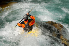 Kayaking on a river Royalty Free Stock Images