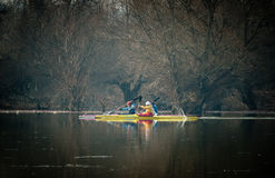 Kayaking on the river Royalty Free Stock Photos