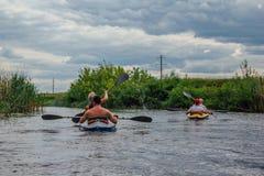 Kayaking on river Stock Image