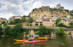 Kayaking on the river Dordogne Stock Photo