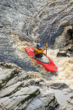 Kayaking on the River Findhorn. royalty free stock photography