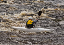 Kayaking on the river Findhorn. Stock Photo