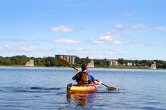 Kayaking on the river in Fredericton Royalty Free Stock Images