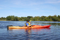 Kayaking on the river in Fredericton Royalty Free Stock Photos