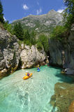 Kayaking through river gorge. In Slovenia Stock Photo