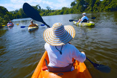 Kayaking on the river Stock Photo