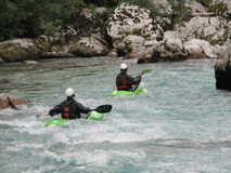 Kayaking on a river Soca Stock Photography
