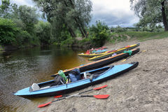 Kayaking on the river Stock Images