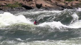 Kayaking in rough waters the White Nile stock footage